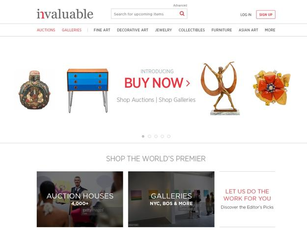 "As part of the launch of ""Buy Now,"" Invaluable today unveiled an updated homepage."