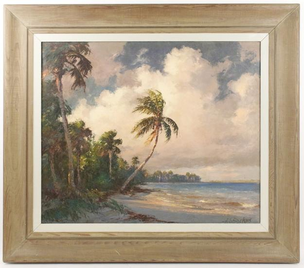 Circa 1960s oil on canvas painting by the renowned Highwayman artist Albert (Beanie) Backus (Fla., 1906-1991), titled View of Florida Coastline.