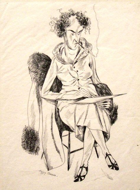 Peggy Bacon, Seated Woman Smoking, 1930, ink drawing