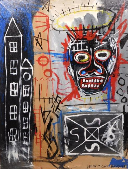 Untitled oil on canvas painted in the manner of Jean-Michel Basquiat (Am., 1960-1988), 36.25 inches by 29 inches, unframed, signed and dated 1983 (est.  $20,000-$30,000).