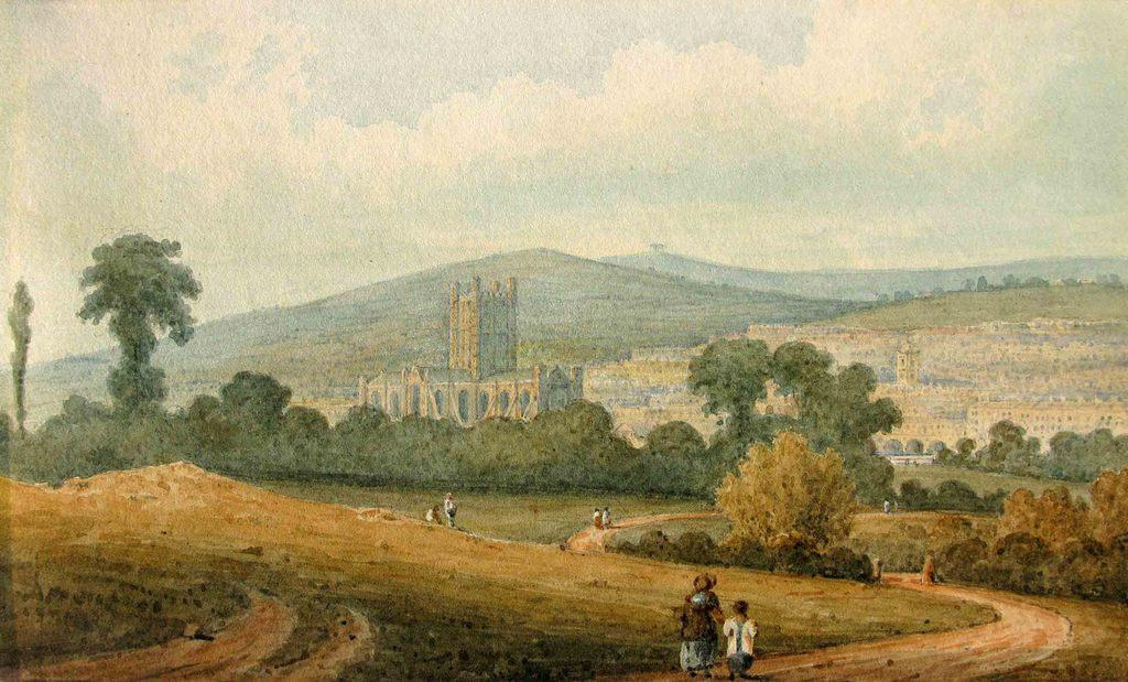 Bath Abbey - early English watercolour.