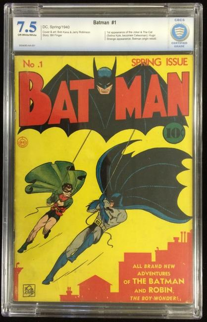 This unrestored copy of Batman #1 from 1940, graded 7.5 out of 10 for condition, hammered for $237,300 at Philip Weiss Auctions on February 15th.