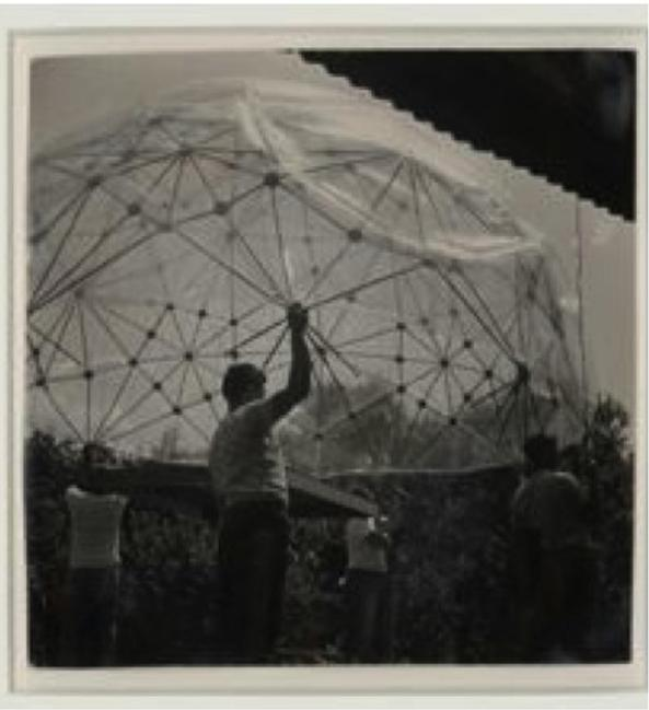 Hazel Larsen Archer, Buckminster Fuller's 1949 Dome at Black Mountain College, Summer 1949, gelatin silver prints, 13.75 x 21 inches (overall), 3.875  x  3.875 inches (ea).   © Estate of Hazel Larsen Archer.