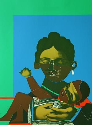"Romare Bearden, Mother and Child, 1971, color screenprint from ""Conspiracy: the Artist as Witness"""