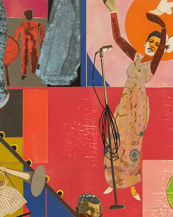 "Romare Bearden (1911-1988), ""Billie Holiday"" (detail), 1973, collage of various papers, acrylic and fabric on fiberboard 27"" x 31"" / 68.6 x 78.7 cm, signed"