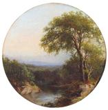 Julie Hart Beers (1835-1913) Hudson Valley Vista.  Oil on board (tondo), 12 1/2 inches (diameter).  Signed lower right.
