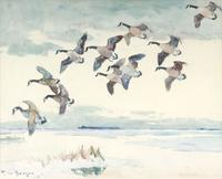 "Frank W.  Benson (1862-1951), ""Canada Geese,"" 1928, watercolor, 19 ¼ by 23 ¾ inches, framed ($80,500)"