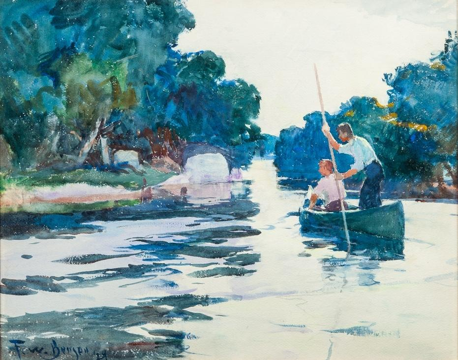 Frank W.  Benson (1862-1951), Poling the Canoe, 1929, watercolor, 20 by 24 1/2 in., Estimate: $50/60,000