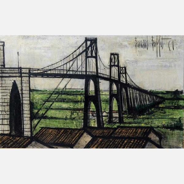 "Le Pont Suspendu by Bernard Buffet (1928-1999), the French Expressionist painter and a leading figure of the Anti-Abstract art group ""L'homme Tremoin (or ""The Witness Man"")."