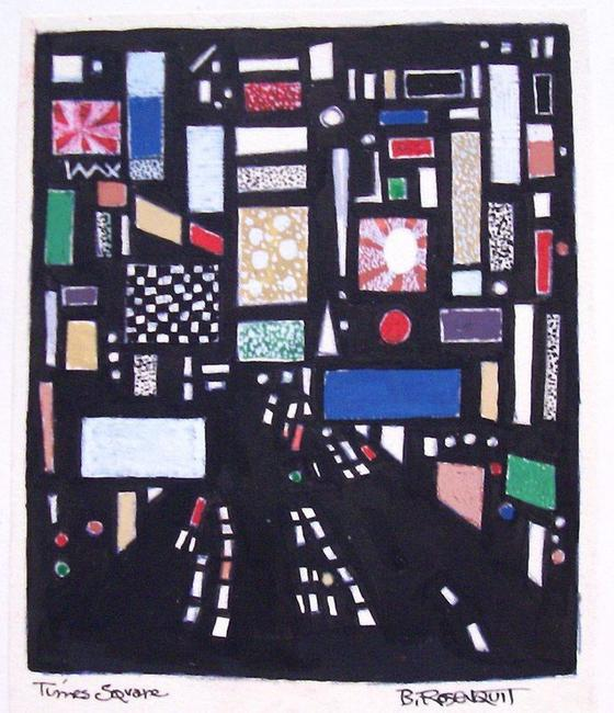 Bernard Rosenquit, Times Square, about 1960, 4 x 3 inches
