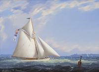 """Yacht on Vineyard Sound"" by William R.  Davis"
