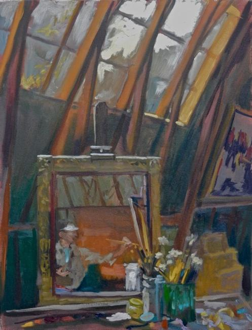Bill Hanson, Working in the Studio, oil, 18 x 14