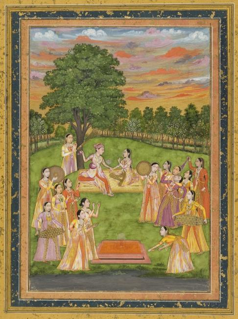 - A Royal Couple and Women of the Court Play Holi, circa 1760, Mughal period, Mughal/India, opaque watercolor, gold and silver on paper, Cincinnati Art Museum, Gift of Mr.  and Mrs.  Carl Bimel, Jr., 1986.1174