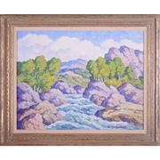 Original oil on board painting signed by the Swedish-born American painter Birger Sandzén (1871-1954), titled In Boulder Canyon, Colorado (1949) ($39,000).