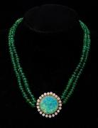Neue Auctions Lot 194: Opal, Diamond and Emerald n Necklace