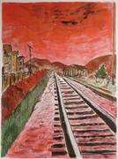 Giclee print titled Train Tracks, pencil signed and numbered (75/295) by Bob Dylan, from the singer-songwriter's Drawn Blank Series ($5,312).