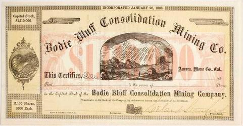 Unissued stock certificate for Bodie Bluff Consolidated Mining Company (Bodie, Calif.), dated 1863, signed by company president Leland Stanford (est.  $1,000-$2,000).