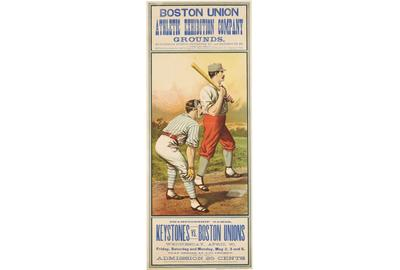 BASEBALL.  Boston Union Athletic Exhibition Company Grounds.  Buffalo, NY: John B.  Sage, [1883].  Chromolithographed poster, 692 x 262 mm (image size).  Est.  $15,000-25,000