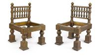 A pair of chased brass-overlaid teak chairs designed by Lockwood de Forest (1850-1932).  India, 1881-1882.  Estimate $ 50,000 - 80,000