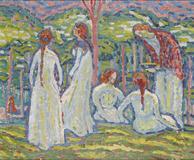 MAX PECHSTEIN (1881-1955) Jeunes Filles 18 1/8 x 21 7/8in.  (46 x 55.5cm) Est $300,000-400,000