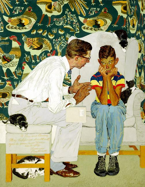 "Norman Rockwell (American, 1894-1978) Study for ""The Facts of Life"" 44 x 33 3/4in.  Est.  $300,000-400,000."