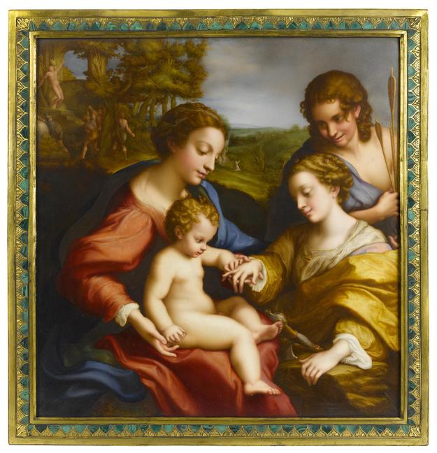 An important and large Sèvres porcelain plaque: The Mystic Marriage of St.  Catherine painted by Abraham Constantin after the painting by Correggio dated 1819.  Sold $152,500