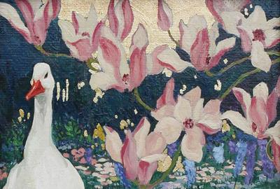 "Jessie Arms Botke ""Ducks and Magnolia"" Oil and gold leaf on board 9 3/4 x 7 3/4 inches AVAILABLE NOW"