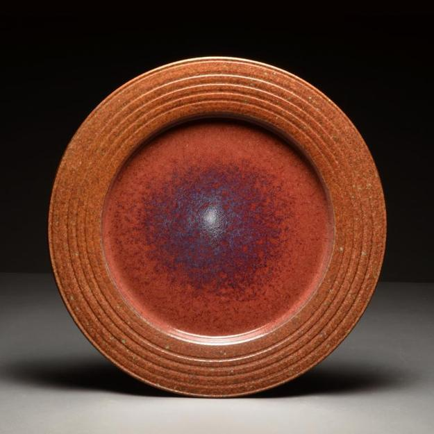 Shino Red platter by Winthrop Byers, wheel thrown stoneware with multiple glazes.  Rock Spring, Wis.
