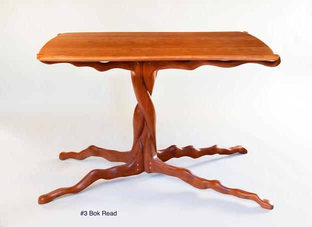 Furniture maker Bok Read's organic wood table.  Media, Pa.