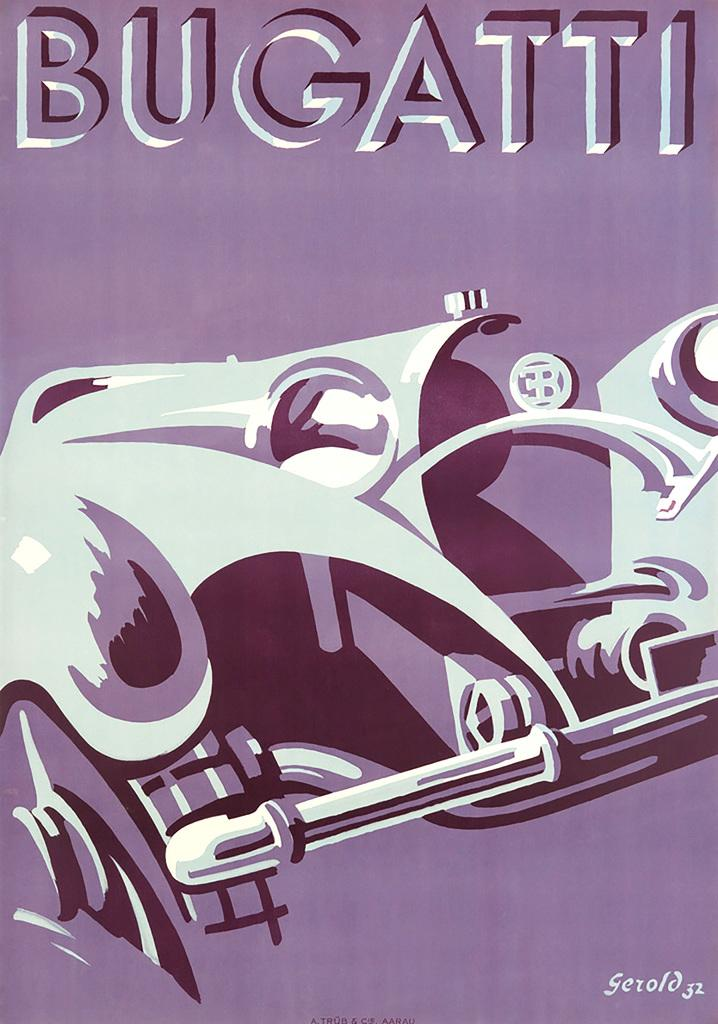 Bugatti, lithograph in colours, 1932, by Hunziker Gerold (1894-1980).
