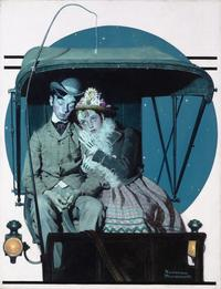 The Buggy Ride is a touching portrayal of young love.  This early work was published for the cover of the Saturday Evening Post, September 19, 1925.
