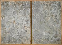 Jasper Johns, The Dutch Wives, 1975.  Encaustic and collage on canvas (two panels mounted together).  Collection of the artist.  Art © Jasper Johns/Licensed by VAGA, New York, NY.