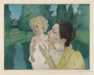 Mary Cassatt, By the Pond, Color drypoint and aquatint, circa 1896.