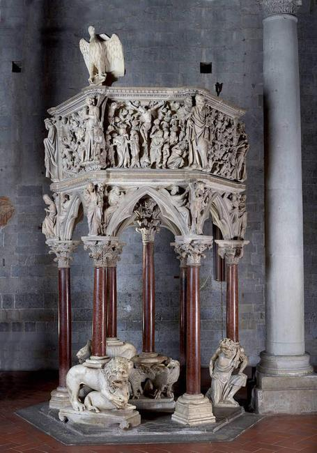 Pulpit by Giovanni Pisano, 1301.  Church of Sant' Andrea in Pistoia, Italy.