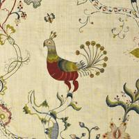 Detail from a bed hanging embroidered by Prudence Geer Punderson, circa 1750-60.