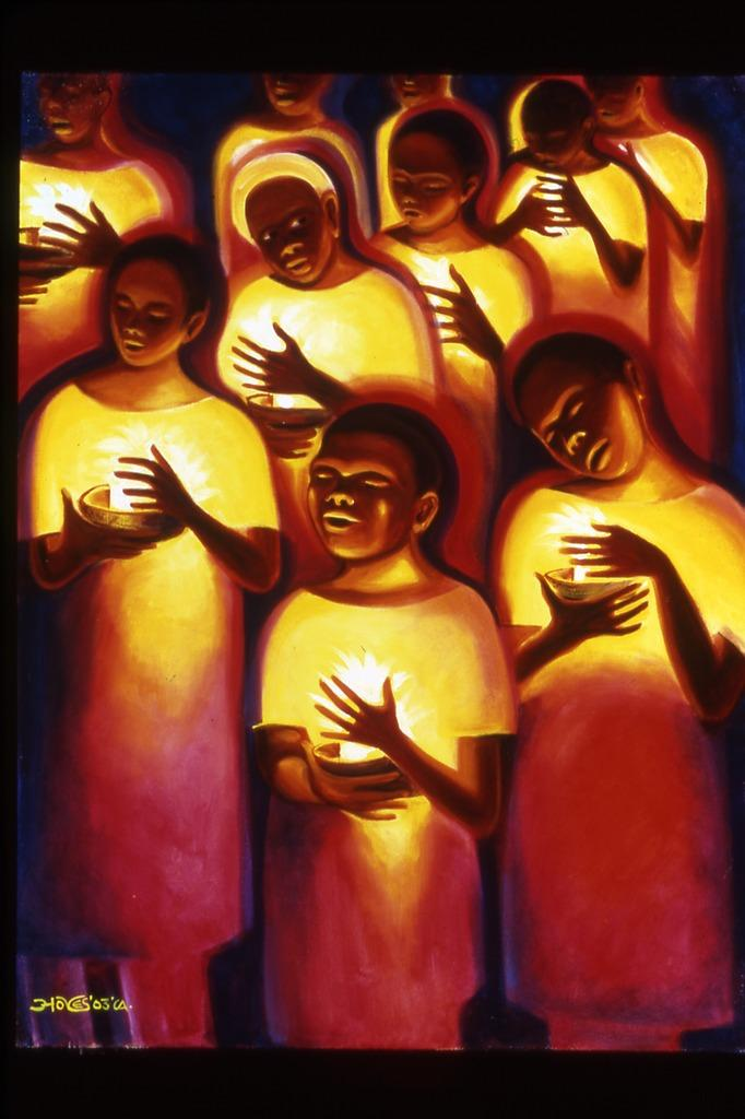 Bernard Hoyes, Candlelight Vigil, oils on Canvas, 38x45""