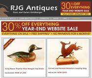 30% Year-End Sale at www.RJGAntiques.com