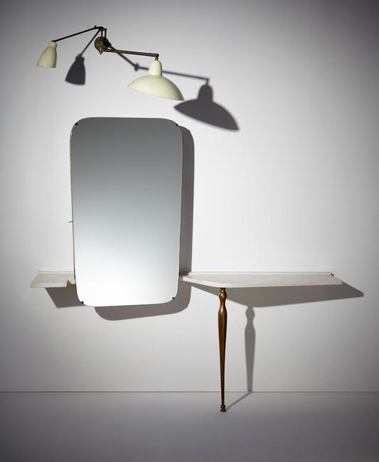 "Carlo Mollino, Unique ""specchio-armadio"" and adjustable wall light, from the bedroom of the Ada and Cesare Minola House, Turin, 1944-1946, Estimate: $250,000-300,000"