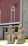 "Two large carved sandstone figures of Indians by Ernest ""Popeye"" Reed will cross the block.  Born in 1919, Reed was a cabinetmaker and carpenter before concentrating on his artistic carvings in 1968 when he was able to become a full-time artist."