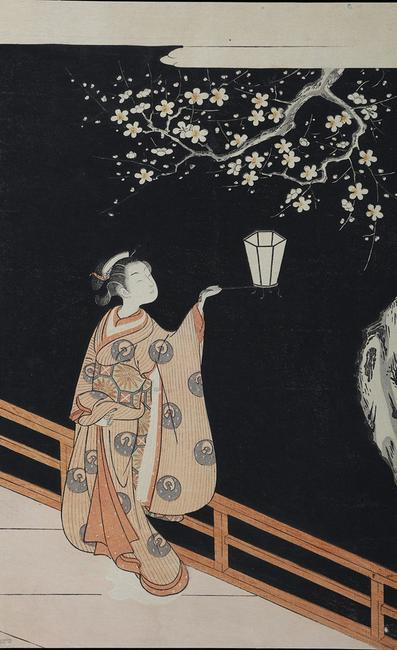 Suzuki Harunobu (1724−1770), Woman Admiring Plum Blossom at Night.  Color woodblock print.  Courtesy Sebastian Izzard LLC.Asian Art.