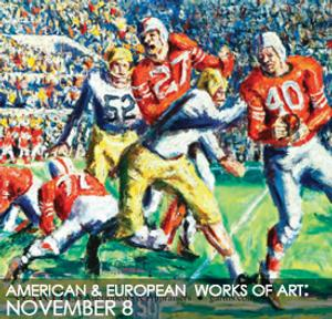 "Lot 2076 HOWARD ""HOPALONG"" CASSADY BY EMERSON BURKHART (AMERICAN, 1905-1969).  Oil on canvas, signed and dated ""55"" lower left.  Depicts 1955 Heisman trophy winner Howard ""Hopalong"" Cassady at the 50 yard line during an Ohio State versus Michigan game.  23.5""h.  29.5""w., in a modern gilt frame, 31.5""h.  37.25""w.  $10,000-$15,000"