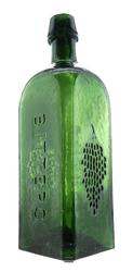 Catawba Wine Bitters bottle in a beautiful green color, with loads of whittle and crudity, in mint condition.  This bottle should reach $5,000.