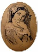 Charcoal and pencil drawing of a young woman, drawn circa 1860s-1870s (from the R.  Laubenheimer Family Archives)