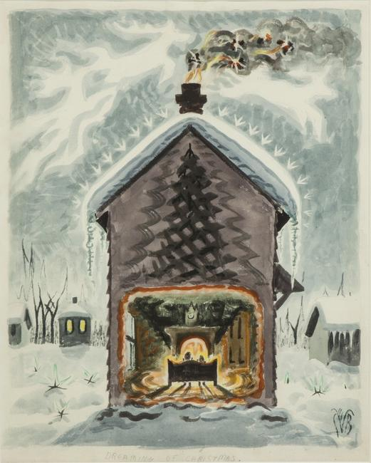 This seasonal watercolor by Charles E.  Burchfield (Am., 1893-1967), titled Dreaming of Christmas, will be sold at Cottone's Feb.  20-21 auction.