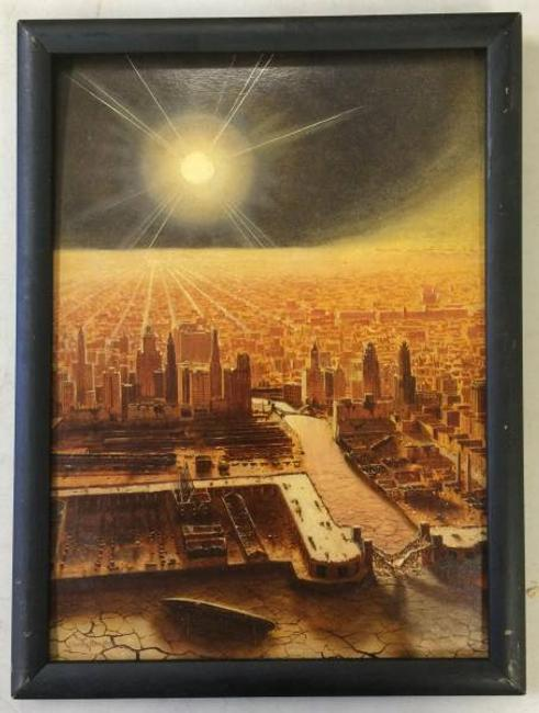 This is one of nine original oil paintings by Chesley Bonestell (Am., 1888-1986) that sold for a combined $135,000 at Philip Weiss Auctions, September 10th.