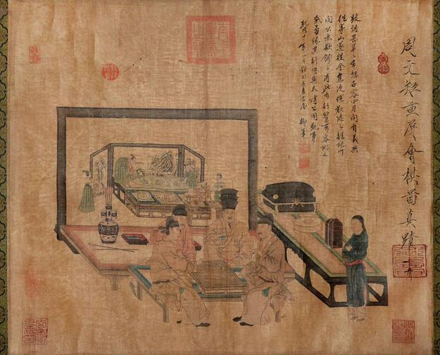 """Chess Game abut of Screen"" by Zhou Wenju will appear in Gianguan Auctions March 19th sale."