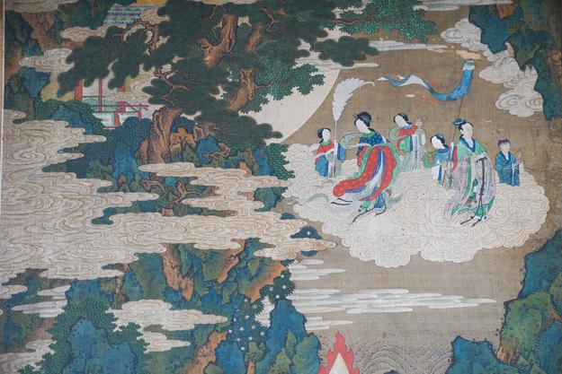 18th century Asian Painted Eight-panel Screen