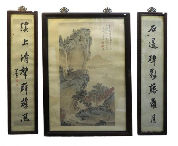 This framed set of three Chinese paintings, all on paper, with a mountain scene flanked by calligraphic banners, is expected to realize $2,000-$3,000.