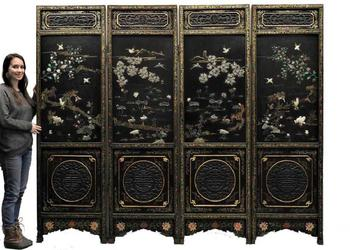 Chinese circa 1910 carved lacquer jade malachite coral screen, 84 inches tall, each panel 25 inches wide, with elaborately painted hand-decorated landscape panels (est.  $10,000-$15,000).