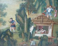Fine mid 18th century oil on canvas Chinoiserie Fantasy, German c.1750